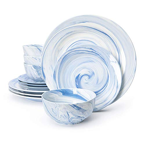 Divitis FUSION Porcelain Dinnerware Set 12 Piece, Blue Round Plates (Soup Bowls, Dinner Plates, Salad Plates), Porcelain Dinnerware Set, Dinnerware Set, Dinner Plates, Plates and Bowls Sets