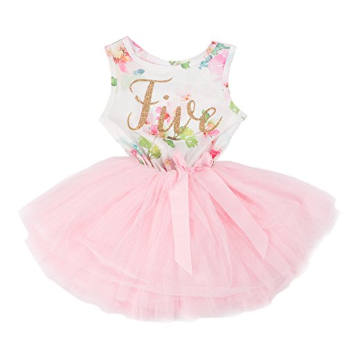 Grace & Lucille Child Birthday Dress (5th Birthday) (Pink Floral Sleeveless, Gold, 5T)]()