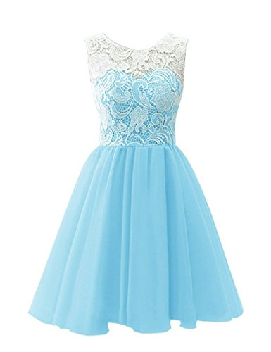 Bess Bridal Women's Short Lace Chiffon Prom Homecoming Dresses 2017 US4 Sky Blue