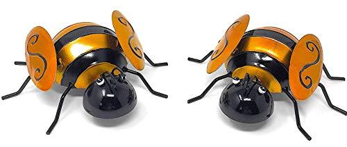 Metal Iron Wall Art Decor Nature Inspired Sculptures For Indoor Outdoor Set of 2 (Bumblebee)