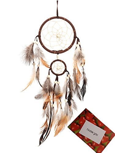 BS® Brown Handmade Beaded Feather Dream Catcher Circular Net For Car Kids Bed Room Wall Hanging Decoration Decor Ornament Craft + Gift bag + Gift Card…