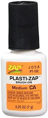 ZAP ADHESIVES PT102 Plasti-Zap CA Brush On 1/4oz