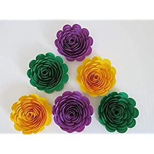 """Mardi Gras Theme Party Decorations, Set of 6 Green, Purple and Yellow 3"""" Roses, Handmade Paper Flowers, Always In Blossom Popular Floral Decor 3"""