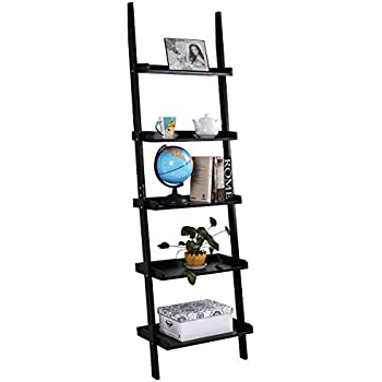 0822231551 Tangkula Ladder Bookcase 5-Tier Wood Leaning Shelf Wall Plant Shelf Ladder  for Home Office Modern Flower Book Display Shelf Storage Rack Stable  A-Frame ...