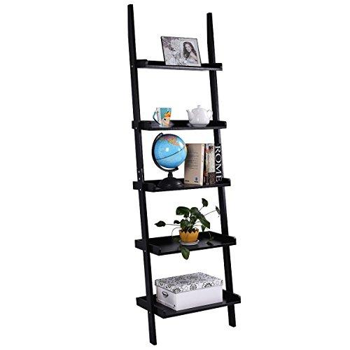 Tangkula Ladder Bookcase 5-Tier Wood Leaning Shelf Wall Plant Shelf Ladder for Home Office Modern Flower Book Display Shelf Storage Rack Stable A-Frame Wooden Ladder Shelf (Black) (Bookcase Leaning)