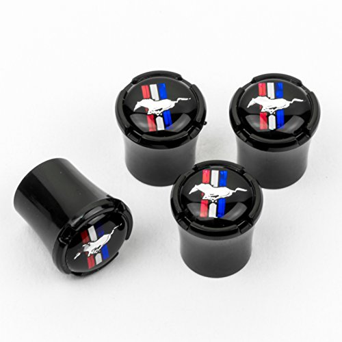 (HEM HIGH-END MOTORSPORTS Black Tire Valve Stem Caps for Ford Mustang, Black Horse and Bar Logos, Made in USA)
