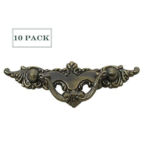 10 Pack Antique Bronze Bar Handle Pulls Vintage Drawer Dresser Handles Retro Bedroom Bathroom Washroom Cabinet Knobs and Pulls 3.8 inch Screw Holes