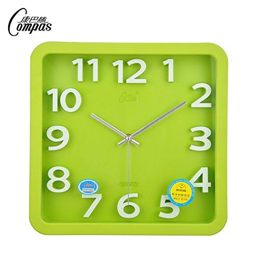 "ZHI Silent Wall Clock, Non-Ticking 14"" Ultra Silent Watches Stereo Living Room Wall Chart Quartz Clock ,14 , In Green"