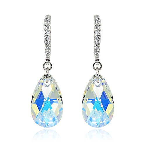 Sterling Silver Aurora Borealis Teardrop Dangle Earrings Made with Swarovski Crytals