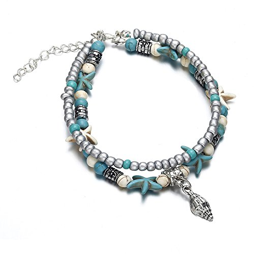 Gold Snail Charm - TTPAIAI 30 Sea Snail Anklets Multiple Layered Boho Gold Chain Anklet Heart Beach Rhinestones Turquoise Stone Charm Anklet (Sea Snail)