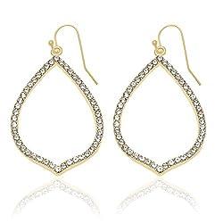 Crystal Studded Gold Teardrop Earrings