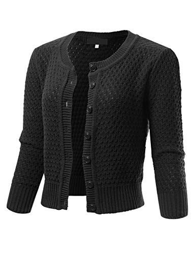 ARC Studio Womens Button Down 3/4 Sleeve Crewneck Cropped Knit Cardigan Crochet Sweater L Black