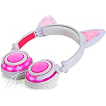 DZT1968 Foldable Flashing Cat Ear LED Music Lights USB Charger Wired Earphone headset
