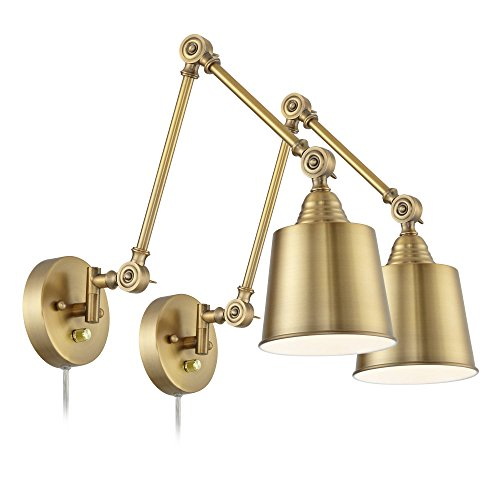 Set of 2 Mendes Antique Brass Down-Light Plug-in Wall Lamps - 360 - Sconce Gold Antique Wall