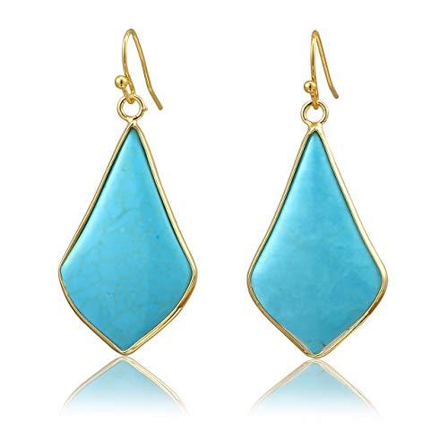 Top Plaza Womens Fashion Natural Gemstone Oval Rhombus Ear Hook Water Drop Ear Pendant Dangle Earring(Rhombus Green Howlite Turquoise)