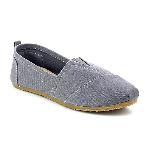 WestCoast Nina-02 Women's Classics Perforated Casual flats loafer Shoes Grey (Canvas Slip Ons Womens Shoes)