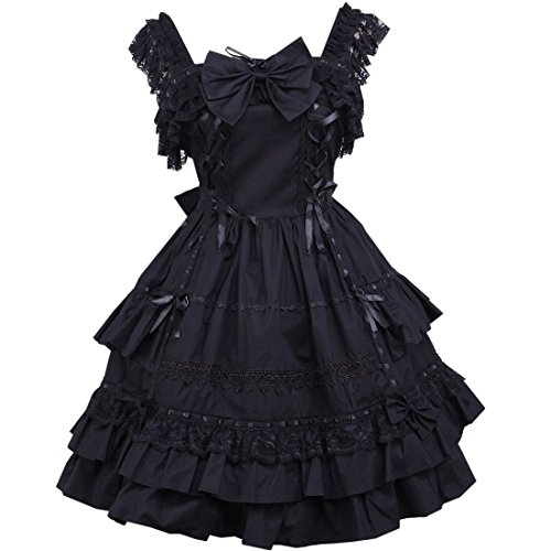 aermel Schwarz Klassische Lolita Bogen Kleid Schwarz Partiss Frauen xqzpOwct