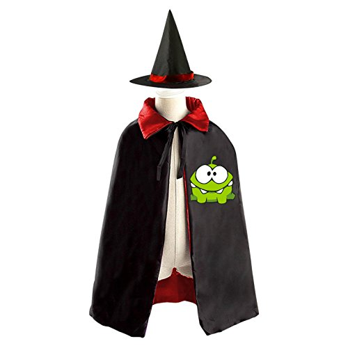 My Om Nom Logo Kids Halloween Party Costume Cloak Wizard Witch Cape With (Cut The Rope Om Nom Costume)