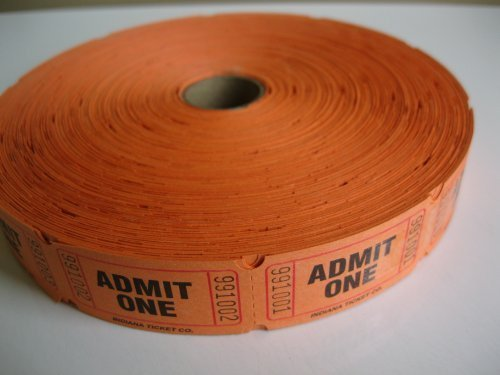 2000 Orange Admit One Single Roll Consecutively Numbered Raffle Tickets by 50/50 Raffle Tickets
