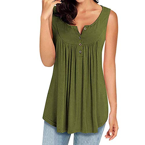 GHrcvdhw Womens Sleeveless V Neck Solid Color Multicolor Button Casual Shirts Flowy Tank Tops Blouses Army Green