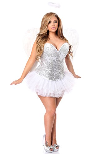 Daisy Corsets Women's Plus-Size Top Drawer 4 Piece Sequin Angel Corset Costume, Silver, 3X