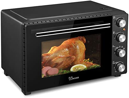 Large Toaster Oven | Countertop Convection Toaster Oven | Electric Oven | 18 Slices, 14'' Pizza, 20lb Turkey | Removable Crumb Tray | Interior Lighting | 3-d Recirculation | 1700 Watts (35 Liters, Black)