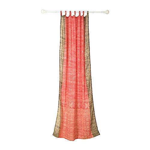 CORAL CURTAIN Window Treatment Draperies Boho Curtains over 20 colors Sari panel 108 96 84 inch for bedroom living room dining room kids yoga studio canopy tent W GIFT Silk bag Coral Taupe accents