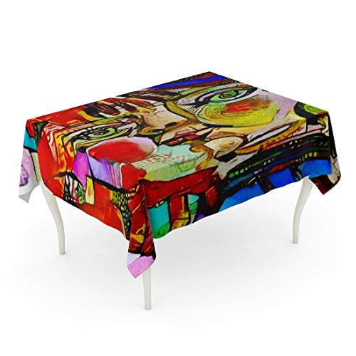 Tarolo Rectangle Tablecloth 60 x 102 Inch Alternative Reproductions of Famous Paintings by Picasso Applied Abstract Kandinsky Designed in Modern Oil on Canvas Fine Pastel Table Cloth ()