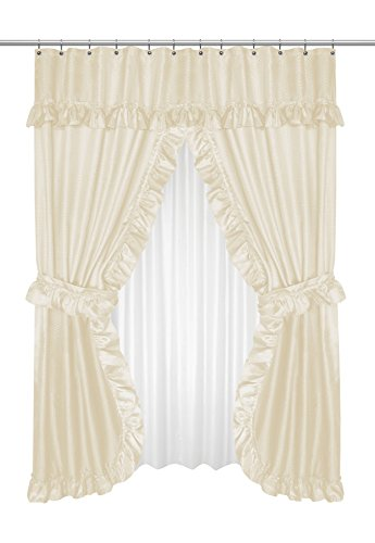 Good Royal Bath Double Swag Diamond Piqued PEVA Non Toxic Shower Curtain 70