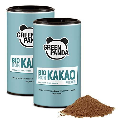 Rohkakaopulver BIO aus Premium Kakaobohnen, Kakaopulver ohne Zucker und entölt, 28 g Protein, laborgeprüft und zertifiziert, 2x125 g(250 GR)