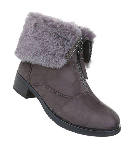 Damen Schuhe Stiefeletten Gefütterte Boots Grau