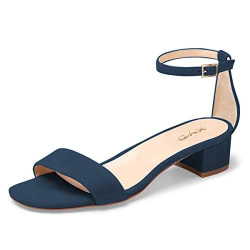 XYD Women Open Toe Strappy Low Block Heel Sandal Pumps Ankle Strap Wedding Dress Shoes Size 9 Dark -