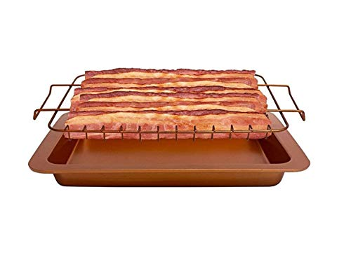 ABTP 2 Pieces Bacon Microwave Oven Healthier Bacon Drip Durable Steel Cook Up to 12 Bacon Dishwasher Safe Nonstick Rack Tray with Pan Copper