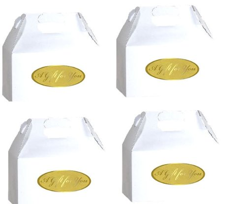Cakesupplyshop Packaged Large 9 x 6 x 6 - 10pack White Gloss Gable Party Favor Gift Boxes with Gift Seals