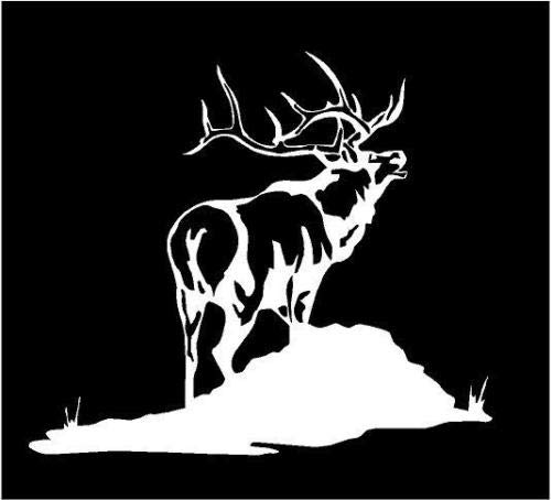White Vinyl Decal - Elk Bugle Mountain Hunt Hunting Antlers Fun Sticker, Die Cut Decal Bumper Sticker for Windows, Cars, Trucks, Laptops, - Decal Elk