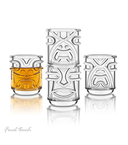 (Final Touch Clear 4 Piece Tiki Tumbler Glass Set)