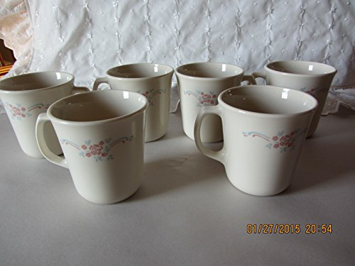 Set of 6 - Vintage Corning Corelle Beige English Breakfast 8 oz. Mugs Cups USA