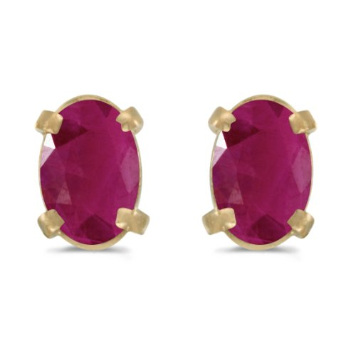 - 14k Yellow Gold Oval Ruby Earrings