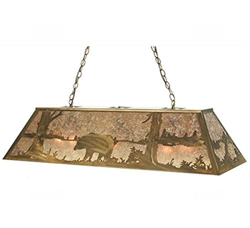 Mica Bear (Meyda Tiffany Custom Lighting 51511 Bear at Lake 9-Light Pendant, Antique Copper Finish with Silver Mica Panels)