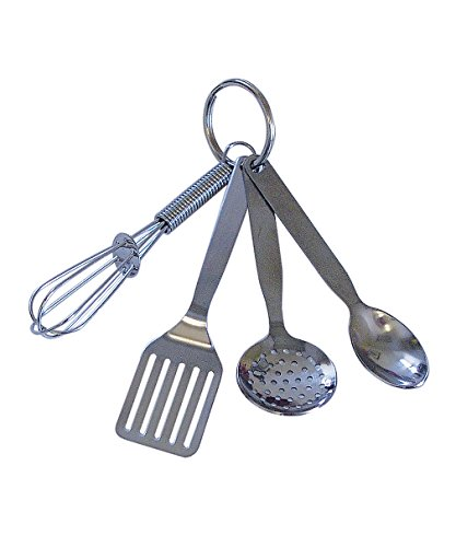 R y M internacional 2912MINI 3.5' Juego de utensilios de cocina con llavero, incluye batidor, espátula, cuchara, y...
