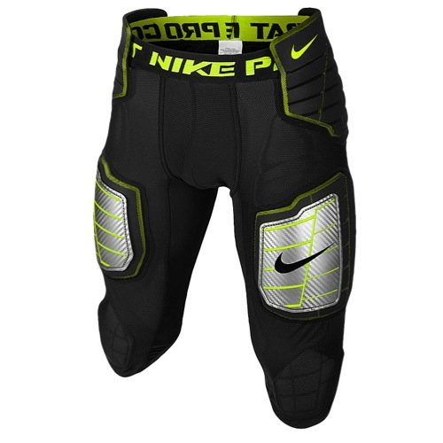 Nike Men's Hyperstrong Compression Hard Plate Football Pant Black/Volt Size Large