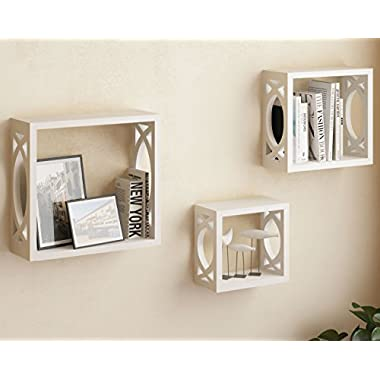Set of 3 White Square Cube Wall Shelves , Larger Shelf Set Stylish Side Decor with Modern Touch