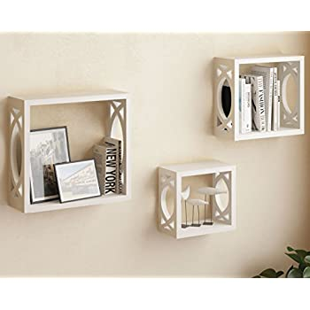 set of 3 white square cube wall shelves larger shelf set stylish side decor with modern touch