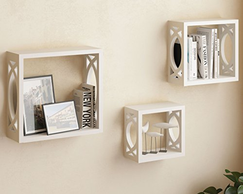 """brightmaison Set of 3 White Square Cube Wall Shelves, Larger Shelf Set Stylish Side Decor with Modern Touch - This set includes three square shelves as seen in the photos Large Shelf Dimensions: 11 7/8"""" x 11 7/8"""" 3 7/8"""" Medium Shelf Dimensions: 9 7/8"""" x 9/7/8"""" x 3 7/8"""" - wall-shelves, living-room-furniture, living-room - 41DyldE A4L -"""