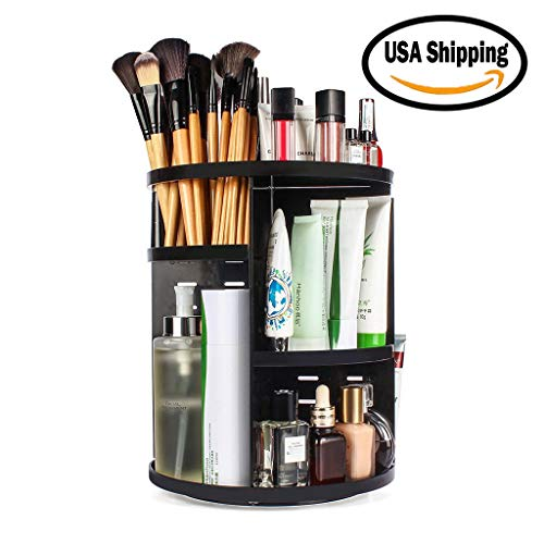 Miklan 360° Rotating 7 Layers Black Countertop Makeup Organizer, DIY Adjustable Makeup Carousel Spinning Holder Storage Rack, Cosmetics Storage Stand Rack,Large Capacity Shelf Organizer Box,US Stock