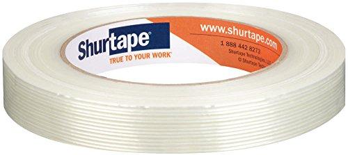Shurtape GS 490 Economy Grade, Light Duty Fiberglass Reinforced Strapping Tape, 55m Length x 18mm Width per Roll, White, 1 Case of 48 Rolls (101229)