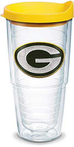 Tervis 1097406 NFL Green Bay Packers Primary Logo Tumbler with Emblem and Yellow Lid 24oz, Clear