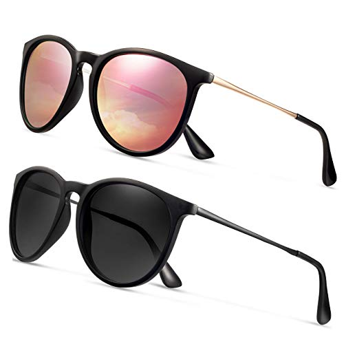Sunglasses for Women Men Polarized uv Protection Wearpro Fashion Vintage Round Classic Retro Aviator Mirrored Sun glasses (glod/green)