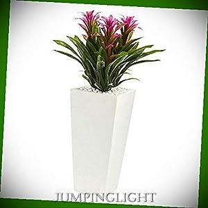 JumpingLight Triple Bromeliad in White Tower Planter, Purple Artificial Flowers Wedding Party Centerpieces Arrangements Bouquets Supplies 56