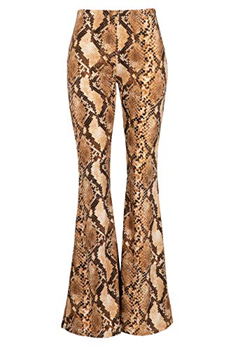 Fashionomics Womens Boho Comfy Stretchy Bell Bottom Flare Pants (L, SN3 Camel) ()